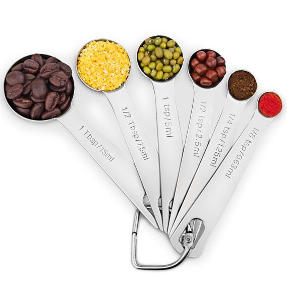 1Easylife Stainless Steel Metal Measuring Spoons, Set of 6 for Measuring Dry and Liquid Ingredients